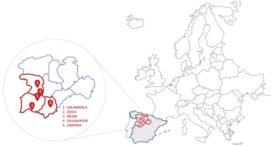 Mapa Castilla y León por campus de la Universidad de Salamanca